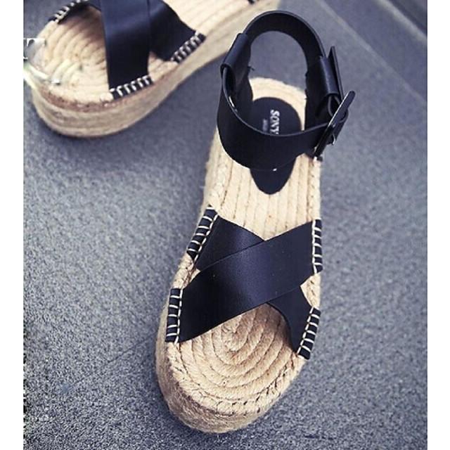 Zapatos de mujer - Plataforma - Cuñas / Punta Abierta - Sandalias - Casual - Semicuero - Negro