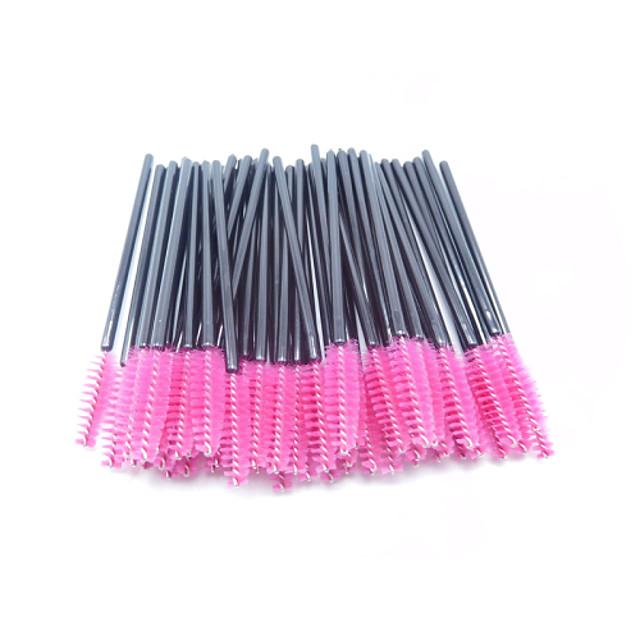 50pcs Makeup Set disposable-eyelash Brush/mascara-wands applicator/Synthetic /color-pink
