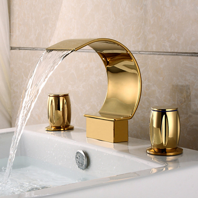 Two Handle Bathroom Sink Faucet,Black Nickel/Golden Three Holes Waterfall Ti-PVD Widespread  Brass Faucet Body ,Zinc Alloy Handle with Cold and Hot Switch