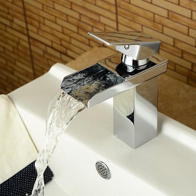 Bathroom Sink Faucet-Waterfall Chrome Center Set One Hole / Single Handle One Hole Bathroom Faucet