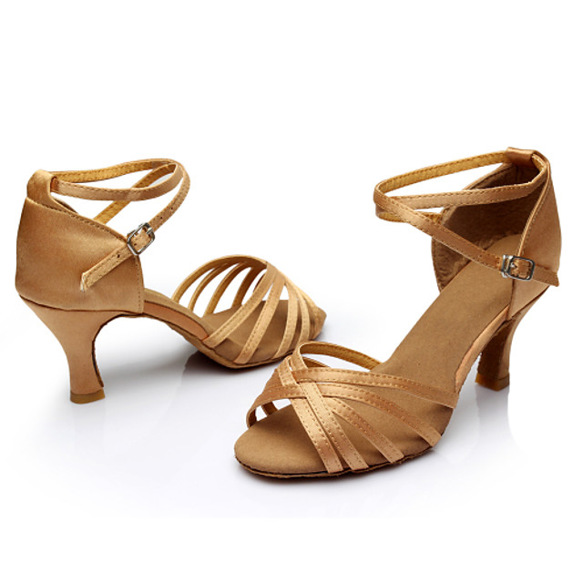 Women's Dance Shoes Latin Shoes Ballroom Shoes Salsa Shoes Line Dance Sandal Sneaker Buckle Ribbon Tie Customized Heel Leopard Nude Black Buckle / Performance / Silk / Practice / EU40