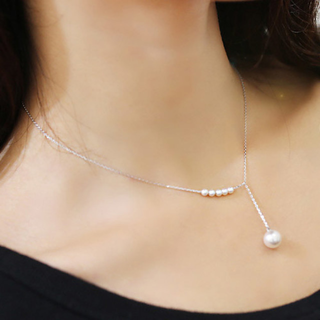 Women's Pearl Choker Necklace Y Necklace Lariat Dainty Ladies Delicate Pearl Imitation Pearl Alloy Golden Silver Necklace Jewelry For Wedding Party Daily Casual / Pearl Necklace