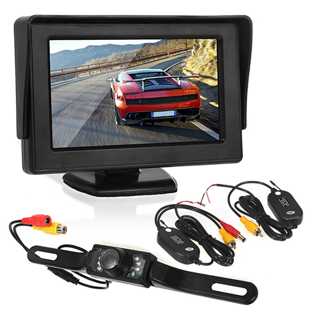 4.3 inch Wirless Car Monitor LED license camera/wireless transmitter and receiver Wirless Parking Rearview System with Backup Reverse Camera for RV