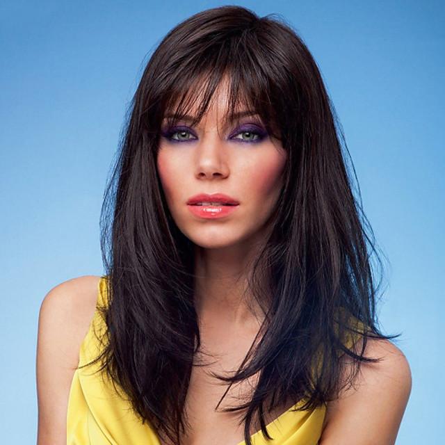 Human Hair Blend Wig Straight Straight Capless Dark Brown / Dark Auburn Beige Blonde / Bleach Blonde Dark Brown