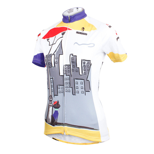 ILPALADINO Women's Short Sleeve Cycling Jersey Polyester Grey Floral Botanical Plus Size Bike Jersey Top Mountain Bike MTB Road Bike Cycling Breathable Quick Dry Ultraviolet Resistant Sports Clothing