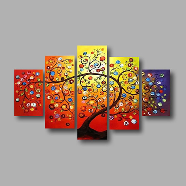 Oil Painting Hand Painted - Floral / Botanical Modern Stretched Canvas / Five Panels