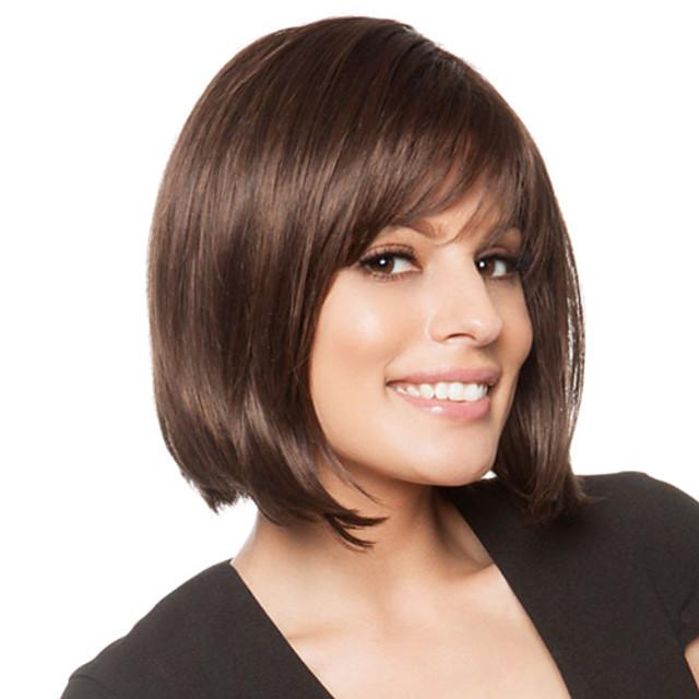 Human Hair Blend Wig Straight Short Hairstyles 2020 Straight Capless Dark Brown / Dark Auburn Beige Blonde / Bleach Blonde Auburn Brown / Bleach Blonde