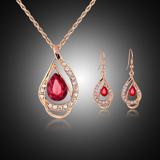Jewelry Set Drop Party Cubic Zirconia Rose Gold Plated Imitation Diamond Earrings Jewelry Red / Green For / Necklace