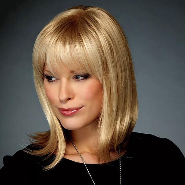 Human Hair Blend Wig Straight Short Hairstyles 2020 Straight Capless Strawberry Blonde / Bleach Blonde Auburn Brown / Bleach Blonde Dark Brown