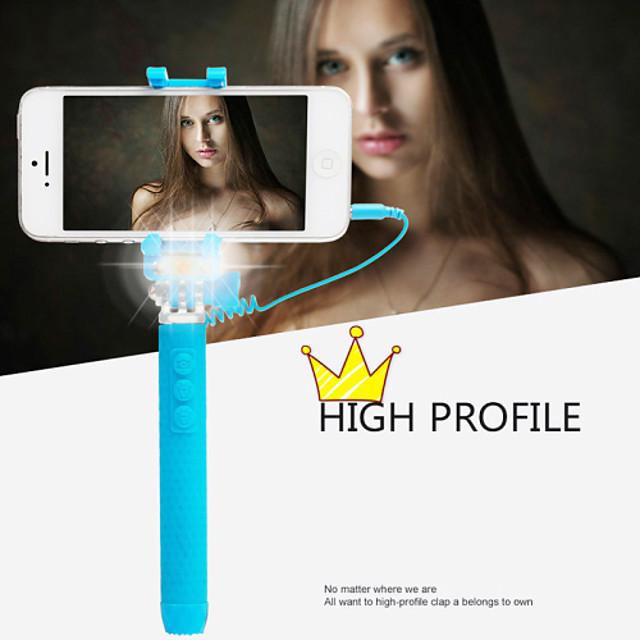 más nuevo super mini stick monopie selfie cable con la luz llevada Flash versión de la noche para los smartphones