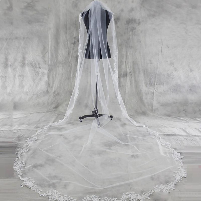 One-tier Lace Applique Edge Wedding Veil Chapel Veils / Cathedral Veils with Appliques Tulle / Angel cut / Waterfall