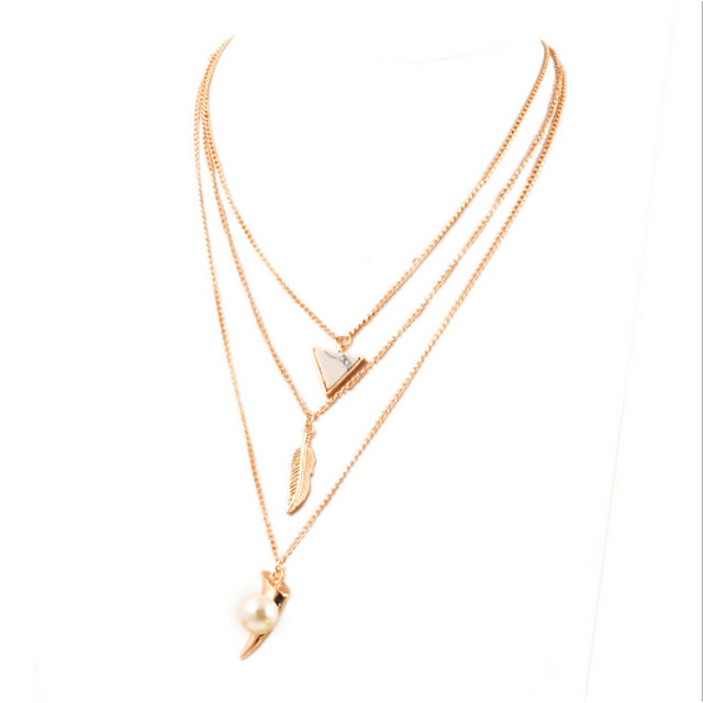 Women's Pendant Necklace Statement Necklace Leaf Ladies European Fashion Pearl Imitation Pearl Alloy Golden Necklace Jewelry For Party Daily Casual / Pearl Necklace