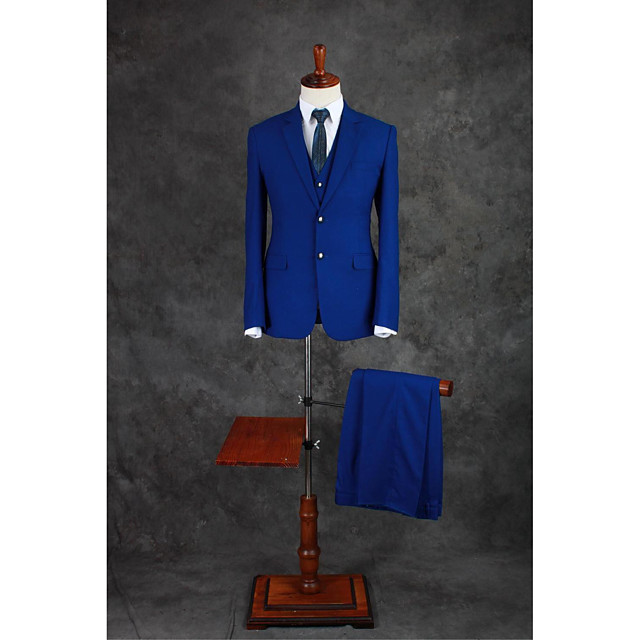 Royal Blue Solid Colored Tailored Fit Cotton Blend Suit - Notch Single Breasted Two-buttons / Suits
