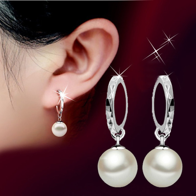 Women's Pearl Drop Earrings Ball Ladies Basic Simple Style Fashion Birthstones Pearl Sterling Silver Silver Earrings Jewelry Silver For Wedding Party Birthday Gift Daily Masquerade