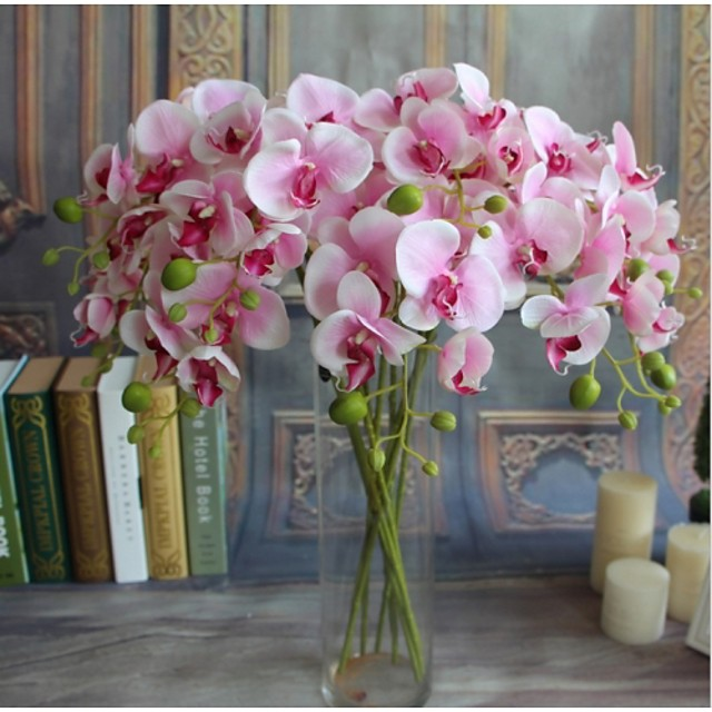 5pcs Real-touch Artificial Flowers Orchids Home Decor Wedding Party Gift 14*78cm