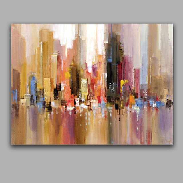 Oil Painting Hand Painted - Abstract European Style With Stretched Frame / Stretched Canvas