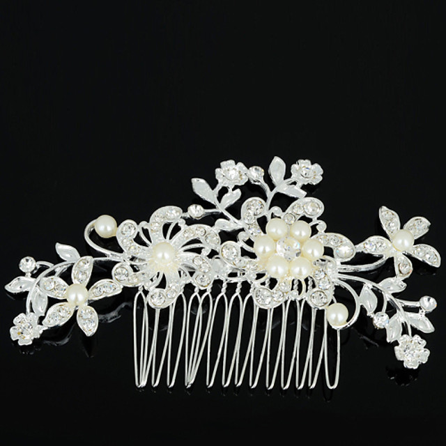 Women's Hair Combs For Wedding Party Daily Flower Zircon Rhinestone Alloy Silver