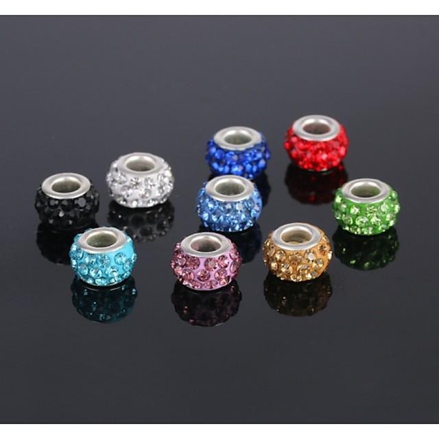 DIY Jewelry 5 pcs Beads Rhinestone Zinc Alloy Silver Imitation Diamond Round Round Shape Circle Shape Bead 1 cm DIY Necklace Bracelet