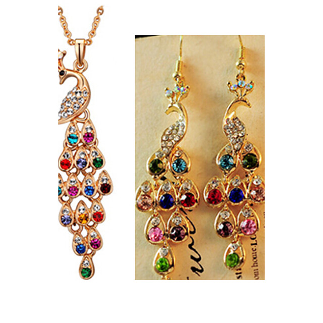 Crystal Jewelry Set Pendant Necklace Peacock Ladies Luxury Vintage Party Fashion Rhinestone Imitation Diamond Earrings Jewelry Rainbow For Party Special Occasion Anniversary Birthday Gift