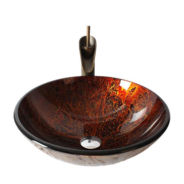 pia de banheiro em latão antigo, torneira, anel de montagem cromado, pia redonda de vidro temperado