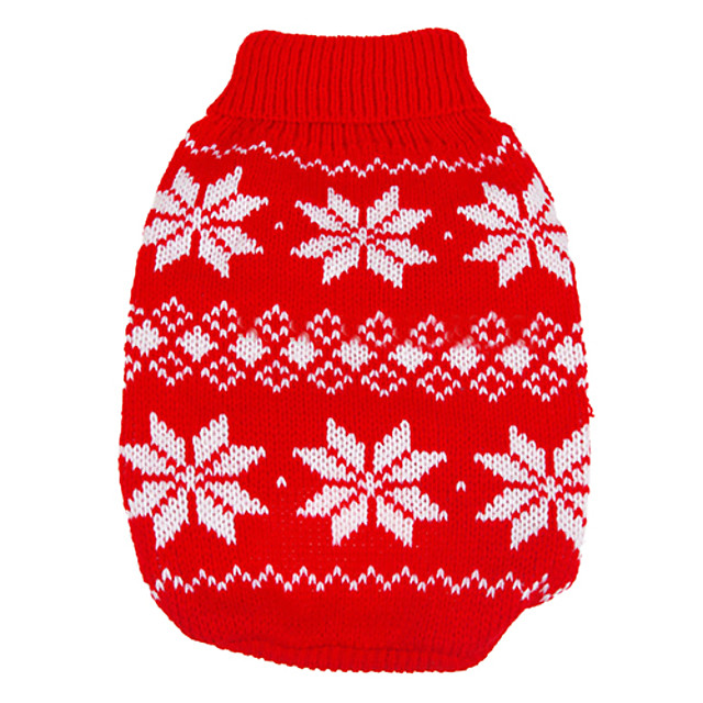 Dog Sweater Snowflake Keep Warm Christmas New Year's Winter Dog Clothes Red Blue Costume Woolen XS S M L XL XXL