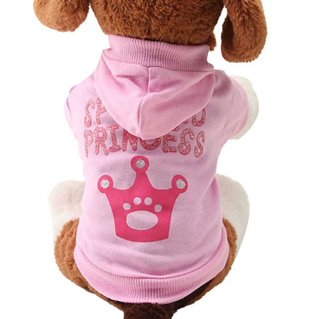 Cat Dog Hoodie Tiaras & Crowns Fashion Winter Dog Clothes Breathable Pink Costume Cotton XS S M L