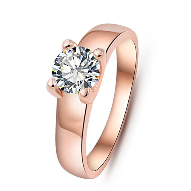 Gold Plated Wedding Jewelry Rings for Women Crystal Engagement Silver Zircon CZ Diamond Ring Rose Gold Anillos Ulove