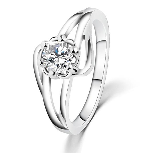 White Gold Plated Flower Wedding Rings AAA Zircon Vintage Engagement Rings For Women CZ Diamond Jewelry Bague GiftsImitation Diamond Birthstone