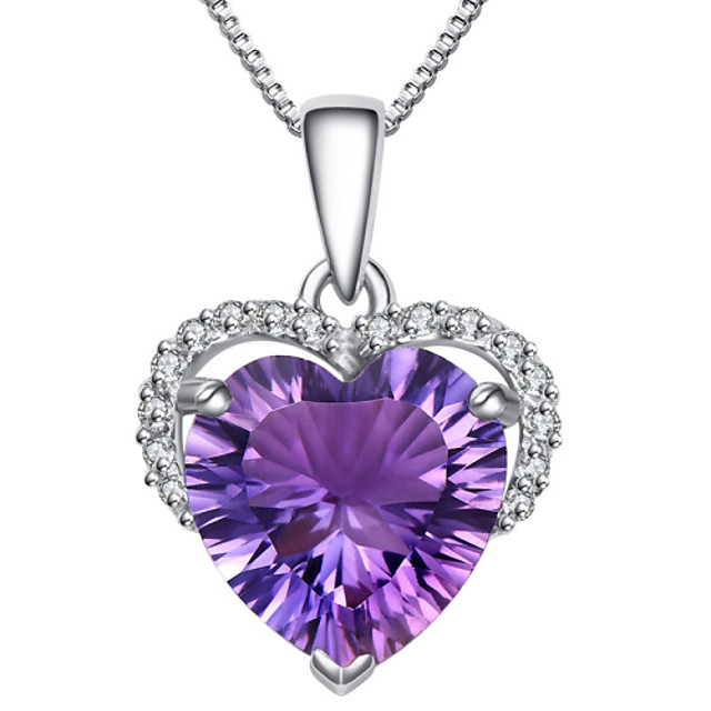 Women's Crystal Amethyst Pendant Necklace Simulated Heart Love Ladies Fashion Sterling Silver Zircon Rhinestone Purple Necklace Jewelry For Party Daily Casual