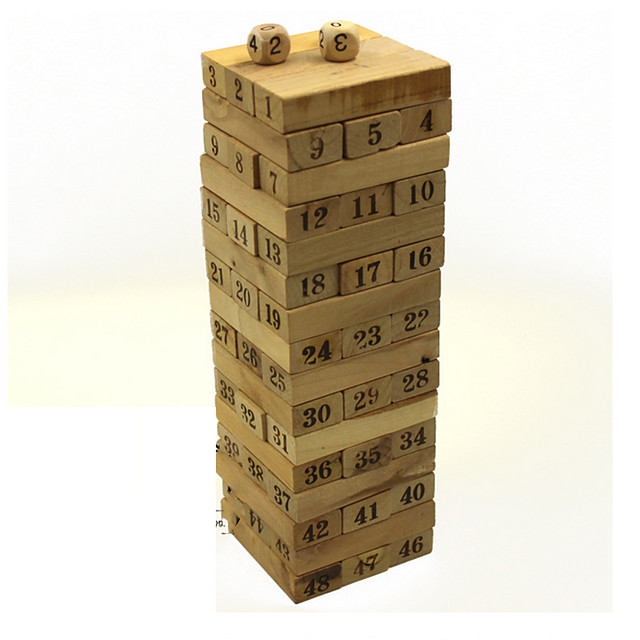 48 pcs Board Game Stacking Game Stacking Tumbling Tower Wooden Professional Balance Kid's Adults' Boys' Girls' Toys Gifts