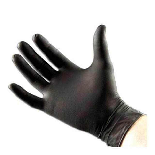 Basekey  Click Powder Free Black Disposable Nitrile Gloves Tattoo Mechanic Boxed 100