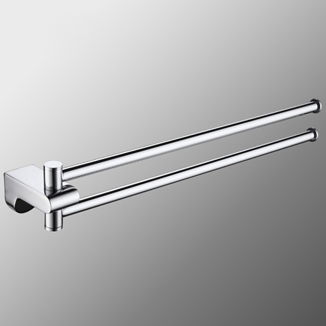 Towel Rack with 2 Rods Rotatable Towel Holder Brass Wall Mounted Towel Rack for Bathroom or Kitchen Silvery 1pc