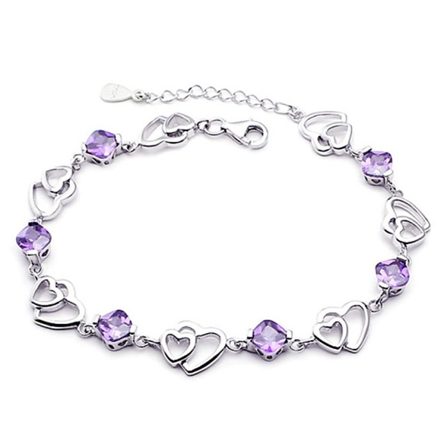 Women's Chain Bracelet Heart Love Hollow Heart Ladies Sterling Silver Bracelet Jewelry Purple For Wedding / Silver Plated