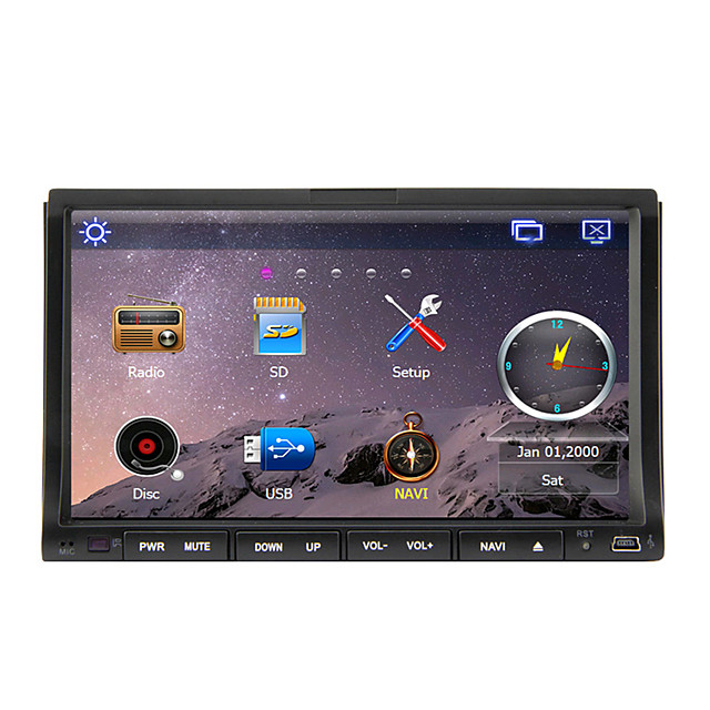 7 inch 2 DIN Windows CE In-Dash Car DVD Player Touch Screen / GPS / Built-in Bluetooth for Support / iPod / RDS / Steering Wheel Control / Subwoofer Output / SD / USB Support