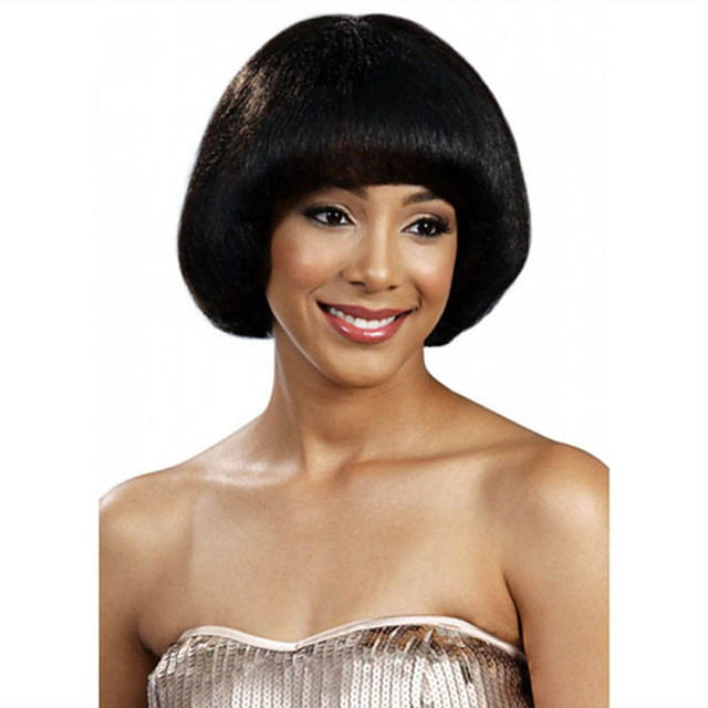 Synthetic Wig Straight Straight Bob With Bangs Wig Short Black Synthetic Hair Women's Black