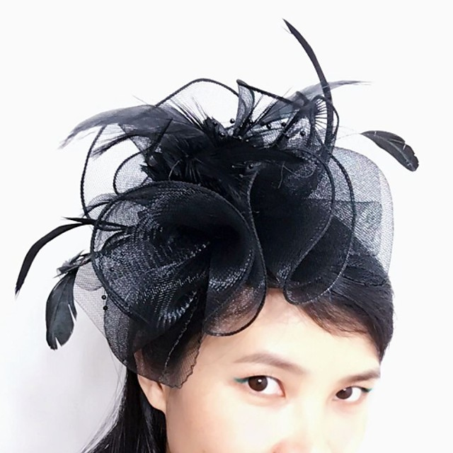 Tulle / Feather / Net Fascinators / Headwear with Floral 1pc Wedding / Special Occasion / Tea Party Headpiece