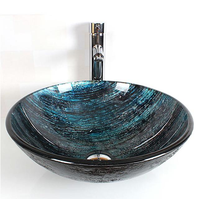 Umywalka w łazience umywalka łazienkowa, okrągła umywalka ze szkła hartowanego, chromowany pierścień montażowy ze stopu cynku, mosiężna bateria łazienkowa