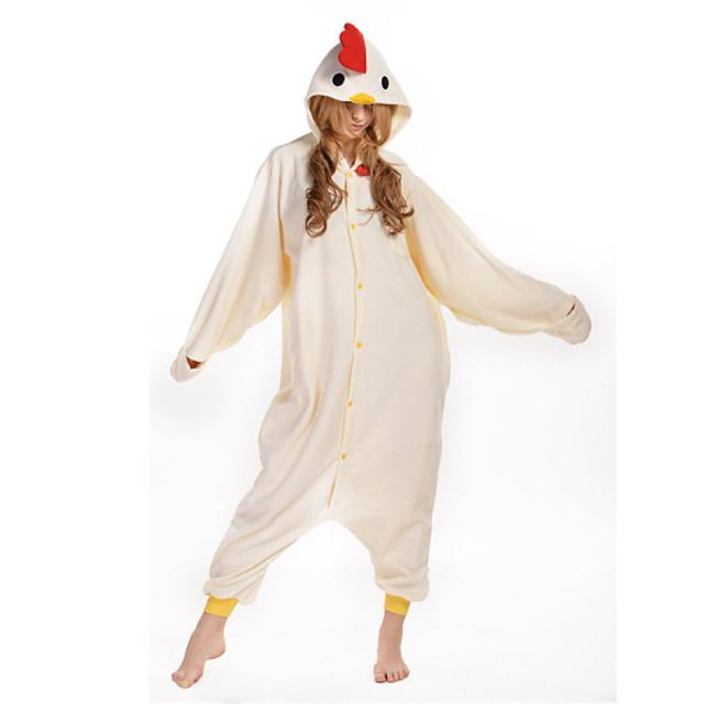 Adulto Pijamas Kigurumi Galo / Galinha Animal Pijamas Macacão Lã Polar Bege Cosplay Para Homens e Mulheres Pijamas Animais desenho animado Festival / Celebração Fantasias