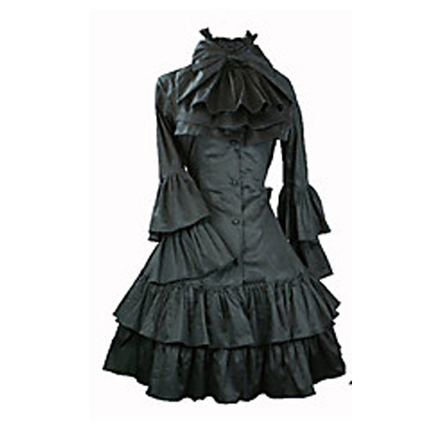 Gothic Lolita Punk Lolita Vintage Inspired Dress Women's Satin Japanese Cosplay Costumes Vintage Poet Sleeve Long Sleeve Medium Length / Pleated