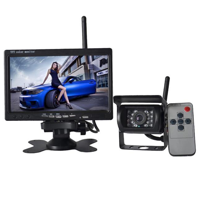 7 inch 170 Degree Car Reversing Monitor Waterproof / Wireless 18IR LED Night Vision Backup Camera Auto Parking Kit For Bus Car