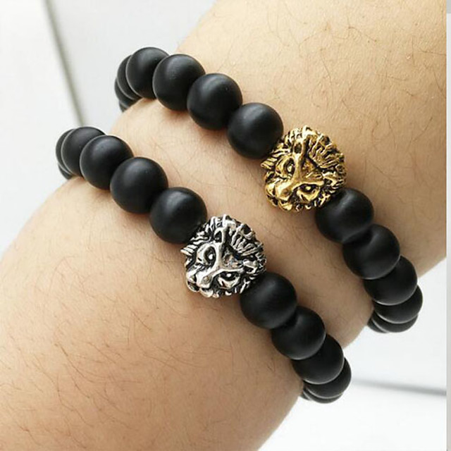 Agate Charm Bracelet Beads Ladies Natural Balance of the Power Agate Bracelet Jewelry Silver / Golden For Daily Casual