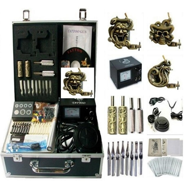 BaseKey Professional Tattoo Kit Tattoo Machine - 3 pcs Tattoo Machines Analog power supply 3 steel machine liner & shader / Case Included