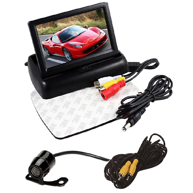 4.3 inch foldable LCD parking monitor car rearview mirror 2 video input reversing camera DVD+Car rear view camera waterproof car backup Universal vision camera butterfly for DVD rear view image