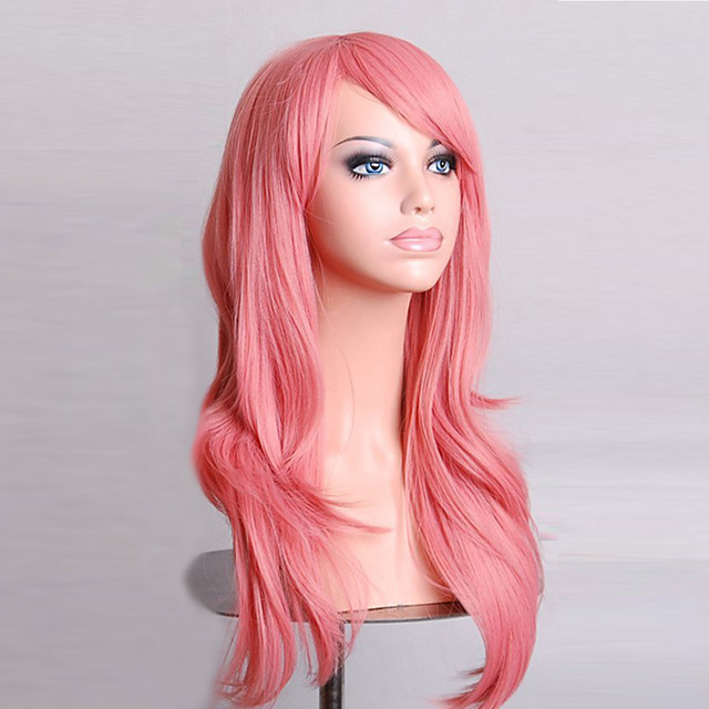 Synthetic Wig Curly Natural Wave Natural Wave Asymmetrical Wig Pink Long Pink Synthetic Hair Women's Natural Hairline Pink