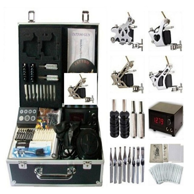 BaseKey Professional Tattoo Kit Tattoo Machine - 4 pcs Tattoo Machines LCD power supply 4 steel machine liner & shader / Case Included