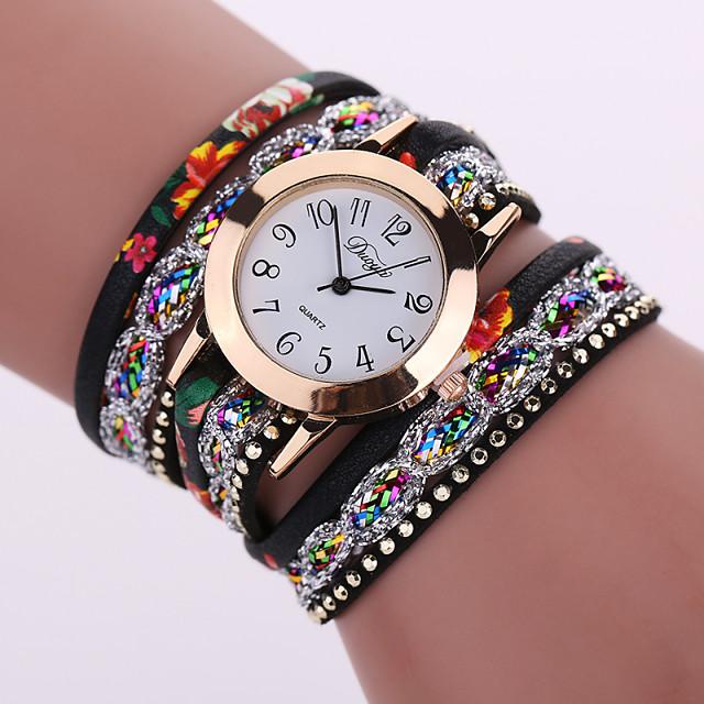Women's Ladies Bracelet Watch Wrap Bracelet Watch Analog Quartz Flower Casual Watch / Leather / One Year