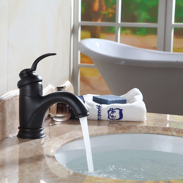 Bathroom Sink Faucet - Standard Oil-rubbed Bronze Centerset Single Handle One HoleBath Taps