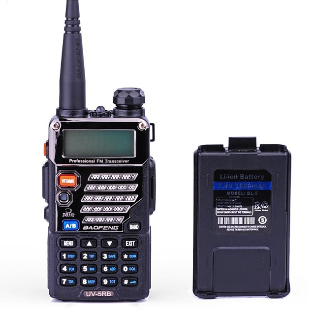 BAOFENG UV-5RB Handheld / Digital Voice Prompt / Dual Band / Dual Display 1.5KM-3KM 1.5KM-3KM 128 1800mAh 5/1 W Walkie Talkie Two Way Radio