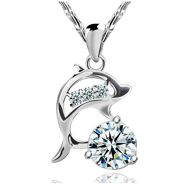 Women's Diamond Cubic Zirconia Pendant Necklace Simulated Dolphin Animal Ladies Fashion Sterling Silver Cubic Zirconia Silver Silver Necklace Jewelry For Wedding Party Daily Casual