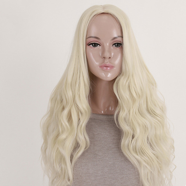 Synthetic Wig Wavy Wavy Wig Blonde Long Blonde Synthetic Hair Women's Middle Part Blonde